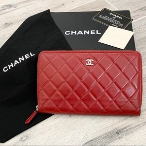 Chanel Red Lambskin Quilted Organizer Wallet
